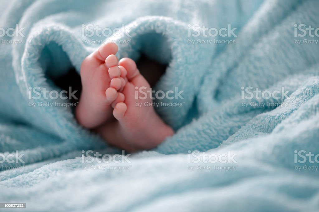 Photo of newborn baby feet stock photo