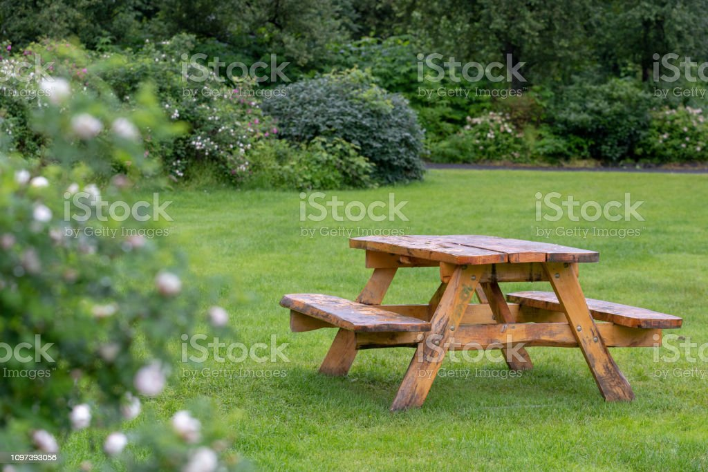 Photo of old wooden picnic table with benches on green grass lawn in...