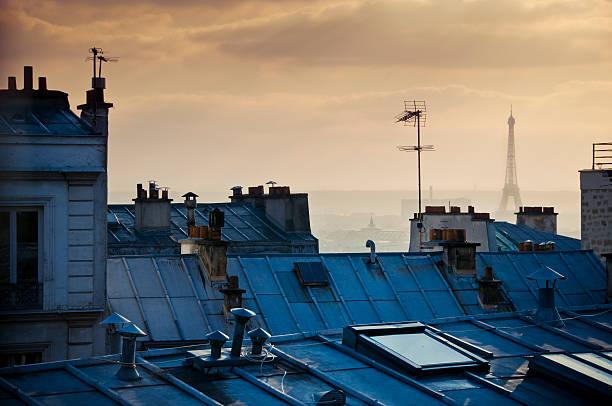 photo of parisian rooftops with eiffel tower in background  - montmatre utsikt bildbanksfoton och bilder