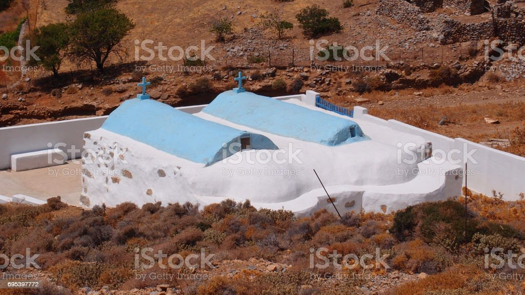 Photo of pictruesque island of Astipalaia with many churches and clear water beahes, Dodecanese, Greece stock photo