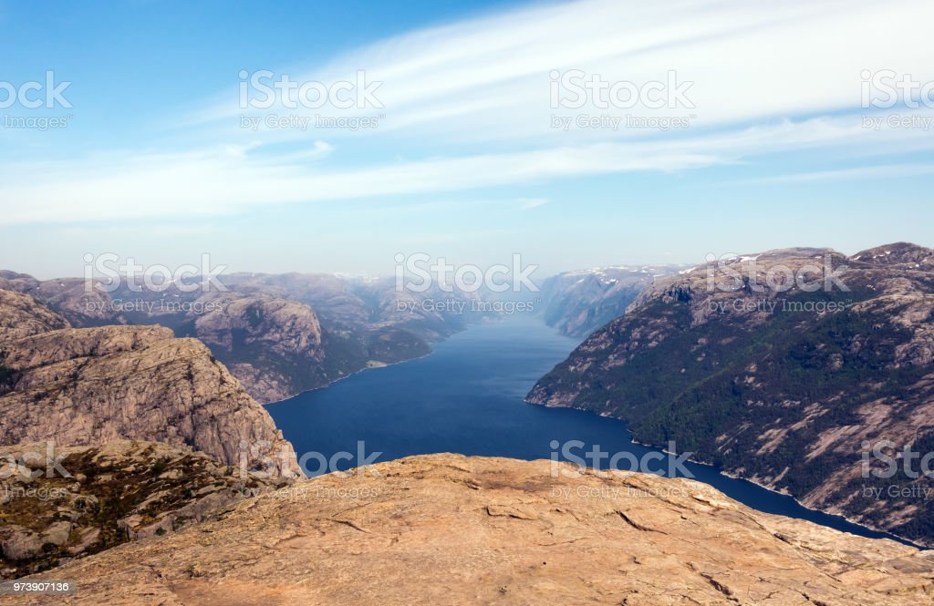 Preikestolen, Lysefjord 노르웨이 설 교 록의 사진. 공중 볼 수 있습니다. - 로열티 프리 가을 스톡 사진