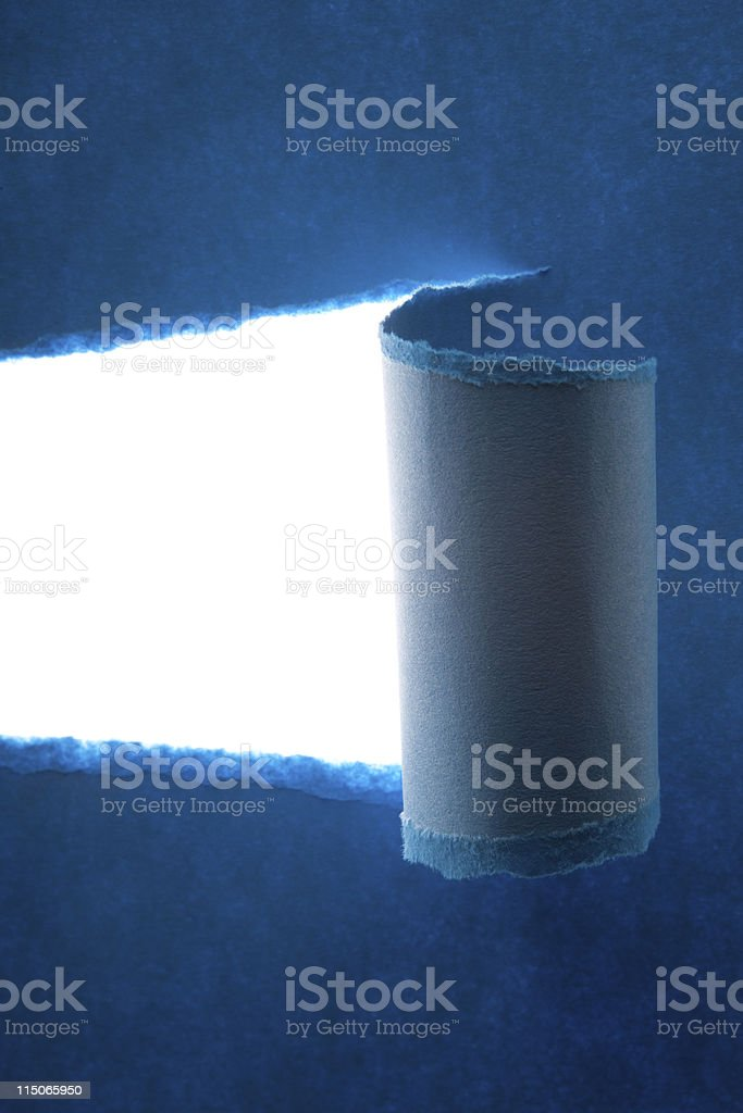 Photo Of Ripped Blue Paper Isolated On White royalty-free stock photo