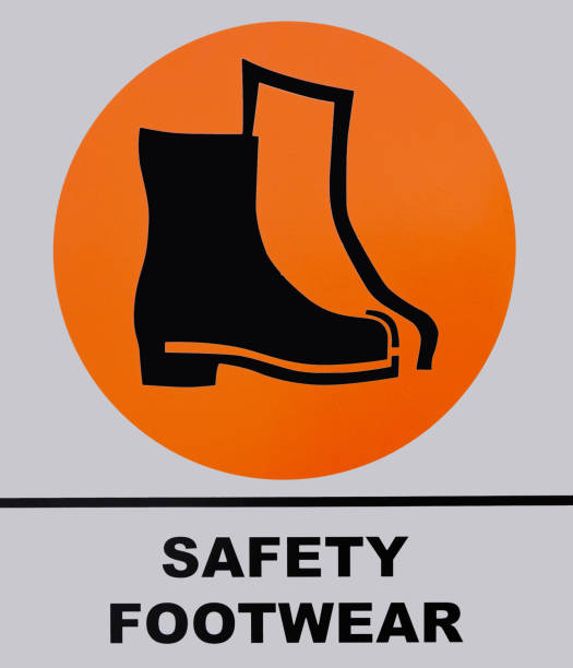 Photo of Safety Shoes Footwear sign isolated on white background. - foto stock