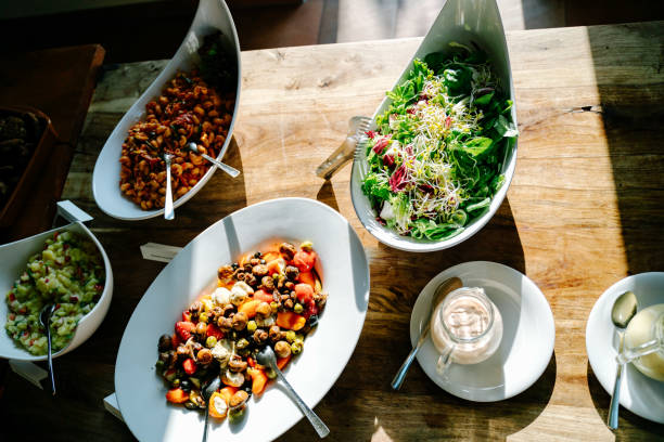 photo of salad bowls in a wedding stock photo