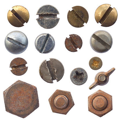 An assortment of wood screw heads and bolts. Large file with a lot of detail.Please also see this one :