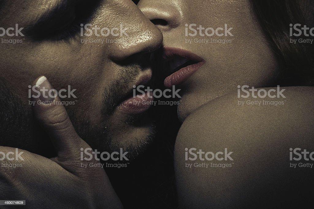 Photo of sensual kissing couple stock photo