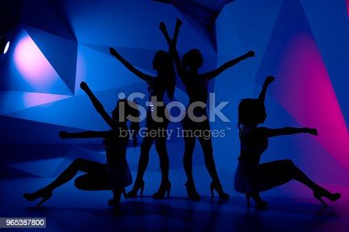 Photo Of Silhouettes Of Four Sexy Posturing Girls In Dark - Stockowe zdjęcia i więcej obrazów Balet