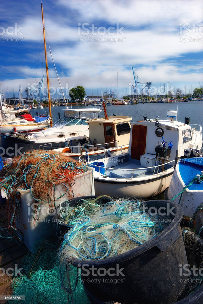 A  photo of small fishing boats in Denmark stock photo