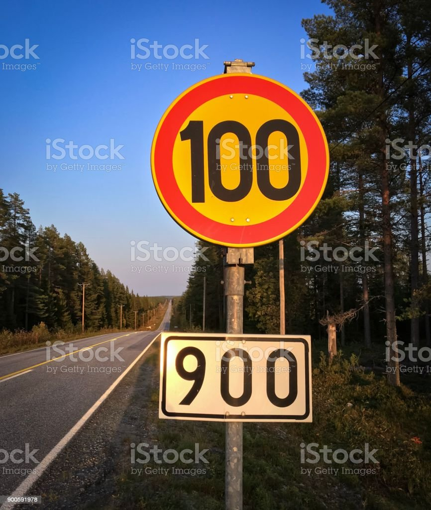 photo of speedlimit sign from Finland. stock photo