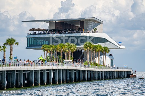 St Petersburg, FL, USA - September 7, 2020: Photo of St Petersburg Pier crowded with tourists  not observing social distancing or wearing face masks
