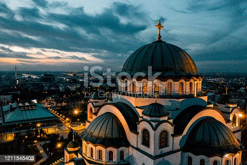 Temple of St. Sava taken by a drone at dawn.