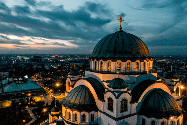 A photo of St. Sava Temple in Belgrade, Serbia, taken from a drone in the early morning stock photo