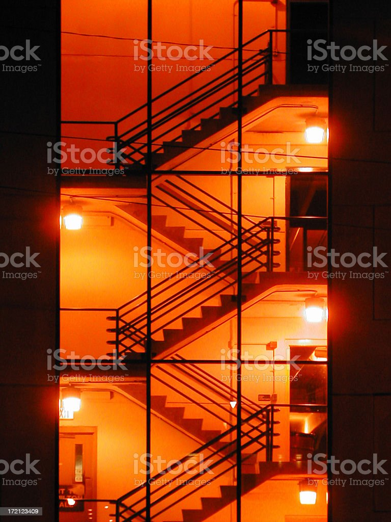 Photo of stairwell with lights at night royalty-free stock photo
