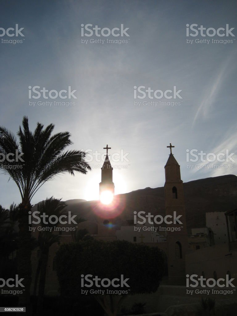 photo of sunlight at sunset in the monastery of Egypt stock photo