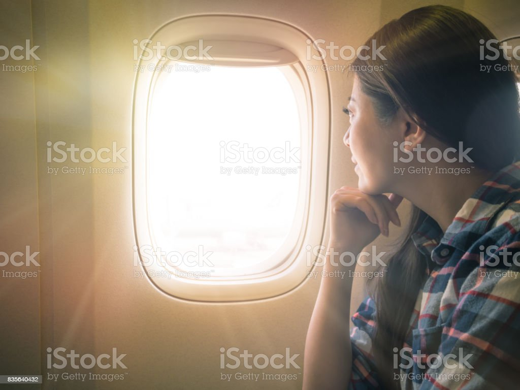 photo of sweet lady seriously view scenery stock photo