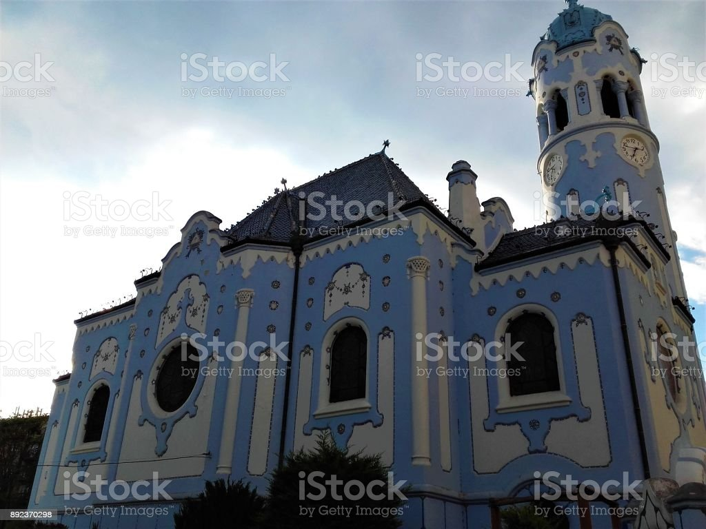 Photo of the blue church in Bratislava stock photo