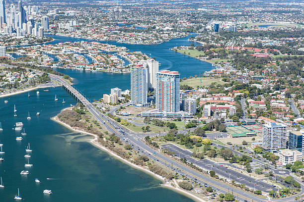 Photo of the city and bay in Surfers Paradise stock photo