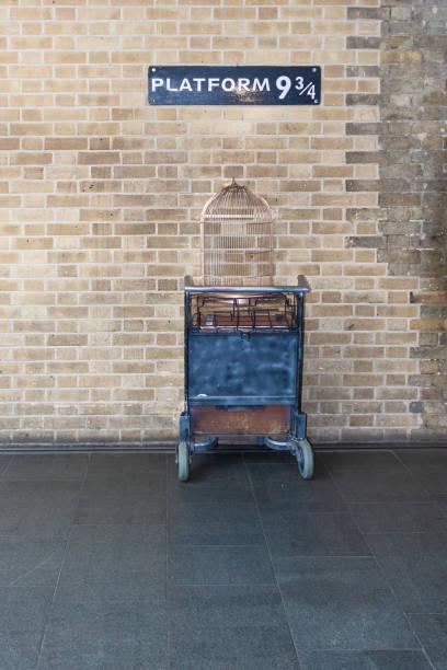London, UK - March 14, 2019: Photo of  The Harry Potter Platform 9 3/4 taken at King's Cross station London stock photo