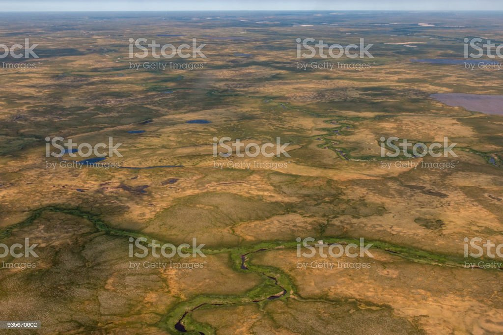 Rivers, swamps of Siberia. Photo taken from helicopter