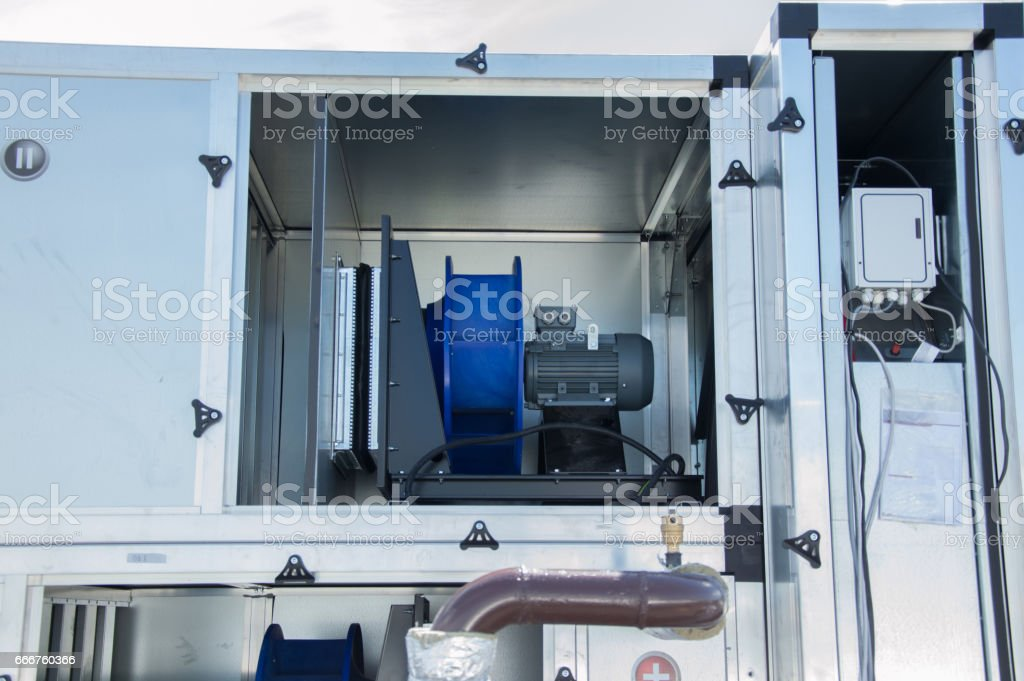 Photo of the vetilation unit part with electric fan motor inside foto stock royalty-free