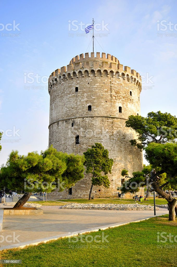 A photo of the white tower of Thessealonika against blue sky stock photo