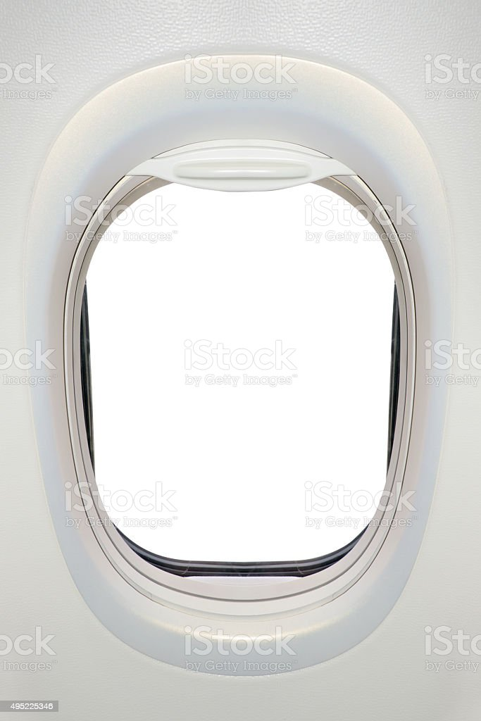 Photo of the window of airplane from inside (flight concept) stock photo