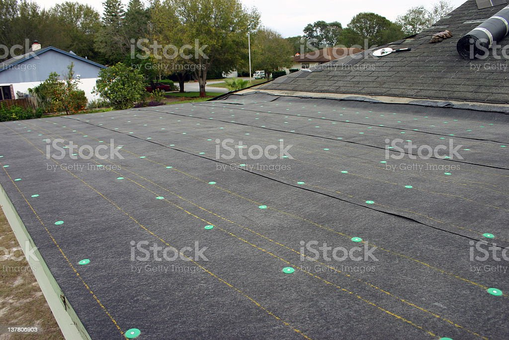 Photo of torch on roofing installed on a rooftop royalty-free stock photo