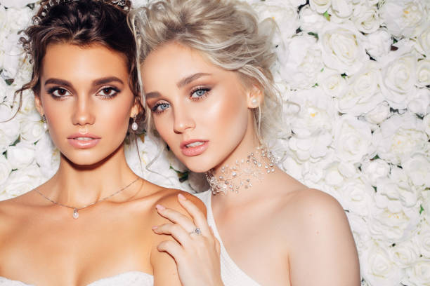 Photo of two beautiful girls stock photo