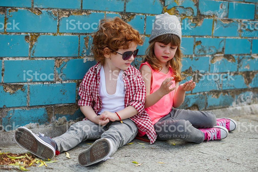 photo of two cute hipsters stock photo