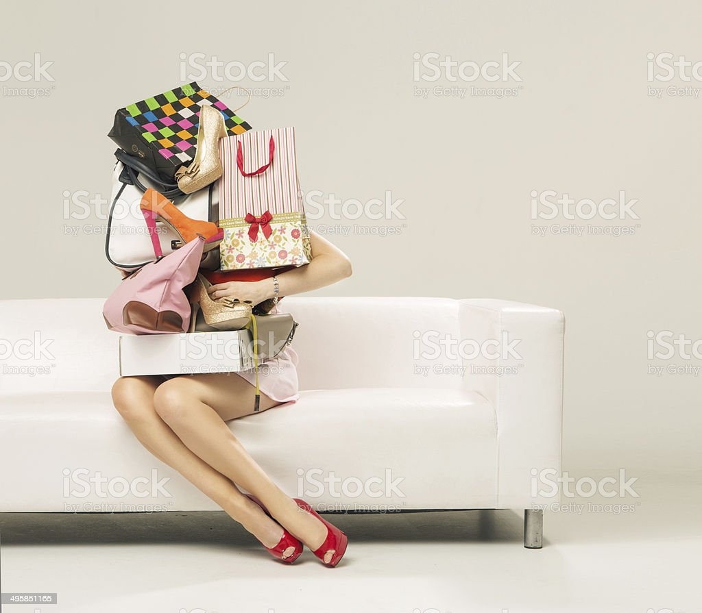 Photo of woman with the shopping wall stock photo