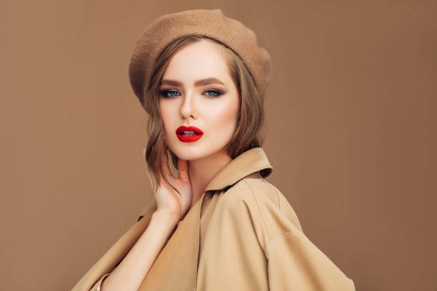 Photo of young beautiful woman wearing stylish Photo of young beautiful woman wearing stylish beret stock pictures, royalty-free photos & images