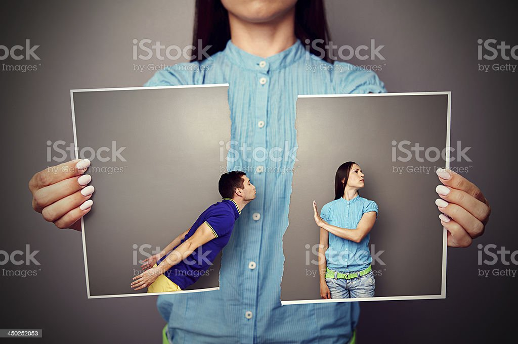 photo of young couple in quarrel stock photo