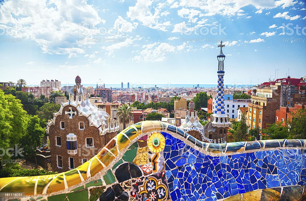Photo over looking a bright mosaic wall at Park Guell royalty-free stock photo