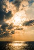 Sun set at sea image