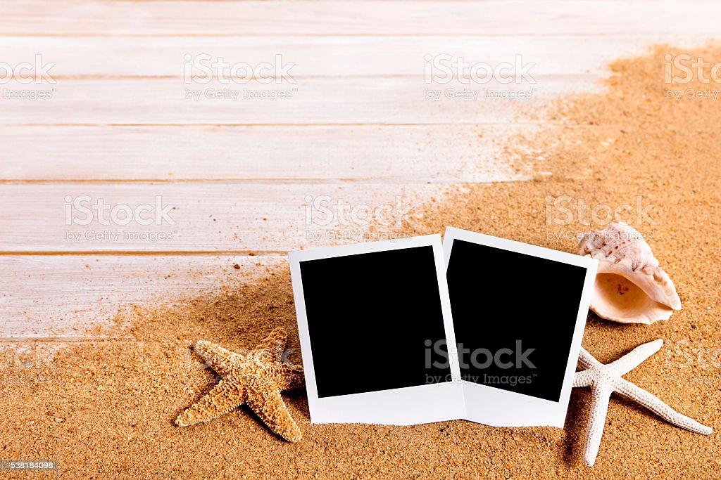 Photo Print Frames On Summer Beach Background Border Stock Photo ...