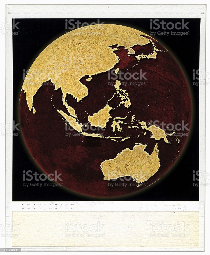 Photo print with Globe showing the Australia and Asia royalty-free stock photo