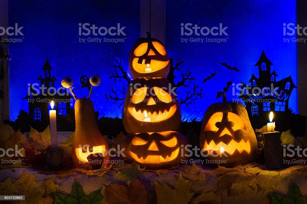 Photo pumpkins for Halloween. All Saints' Day. stock photo