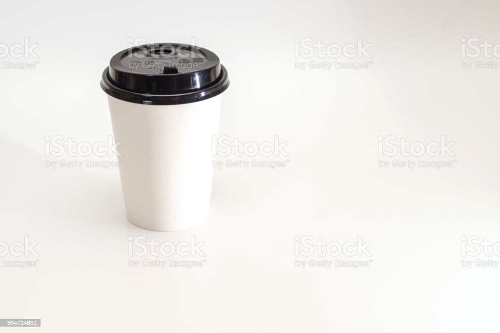 Photo Realistic White Travel Mug Coffee Cup Isolated Stock
