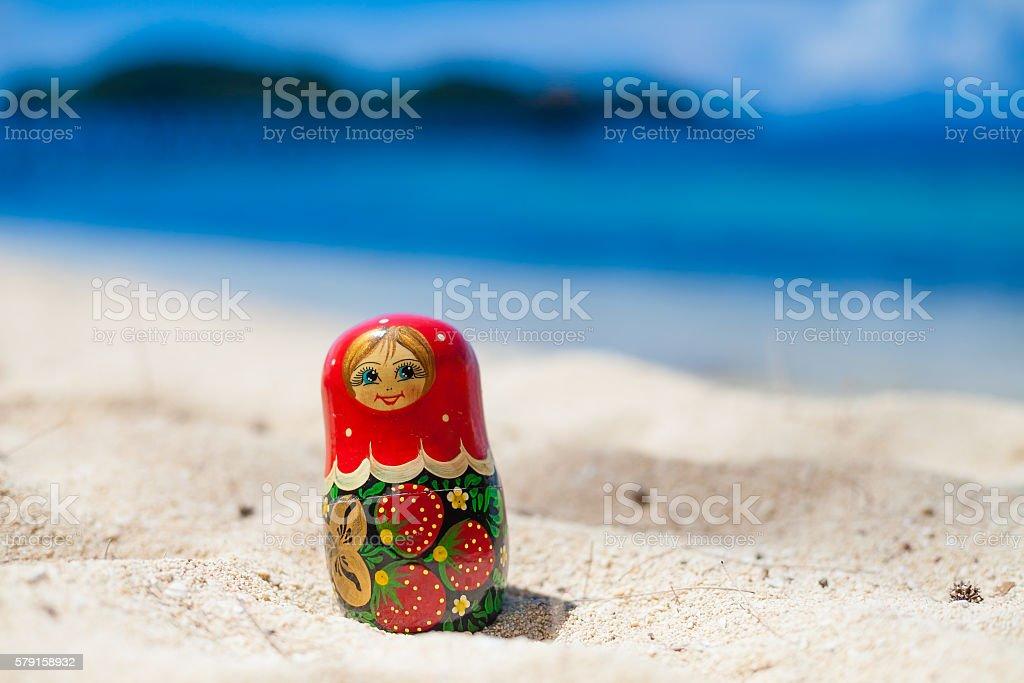 Photo Russian Dolls Matrioshka Untouched Tropical Beach in Bali Island stock photo