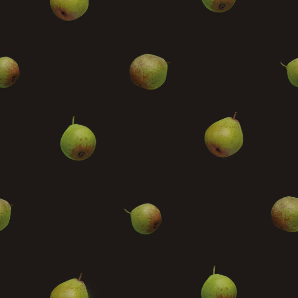 Photo seamless pattern with green pears photos on dark brown background stock photo