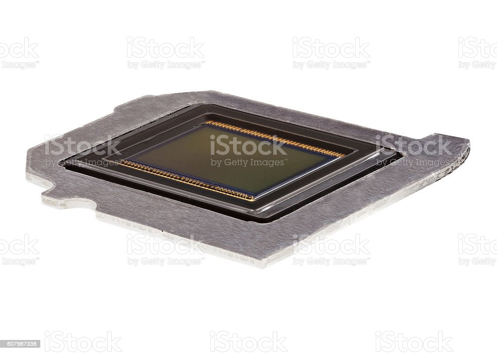 photo sensor on a metal plate with a white background stock photo