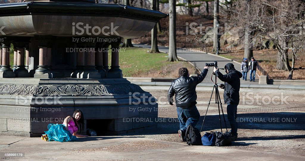 Photo session in Central Park royalty-free stock photo