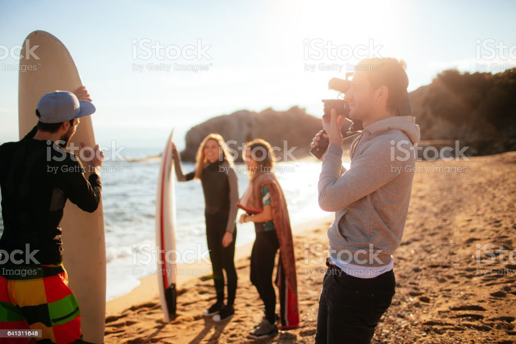 Photo shoot at the beach stock photo
