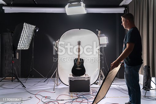 Photo shoot of black guitar in studio