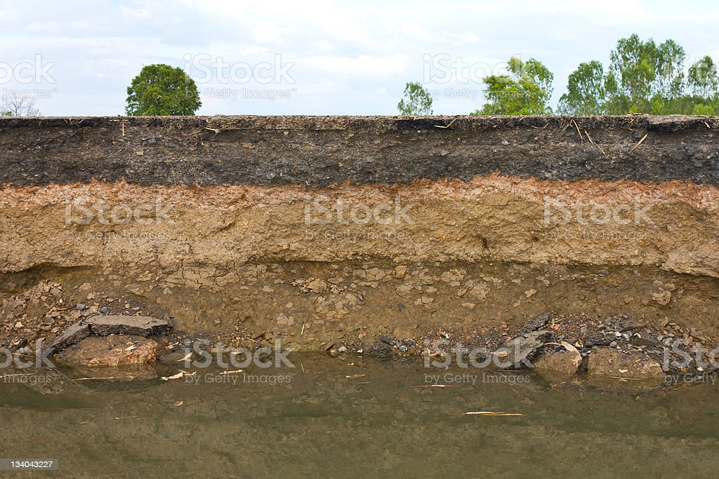Photo showing layers of earth beneath the asphalt stock photo