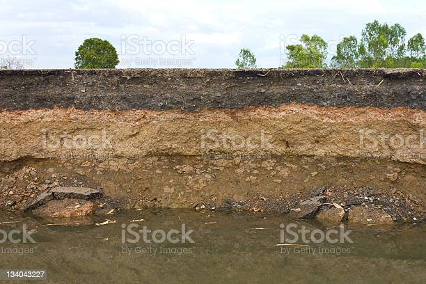 Photo of Photo showing layers of earth beneath the asphalt