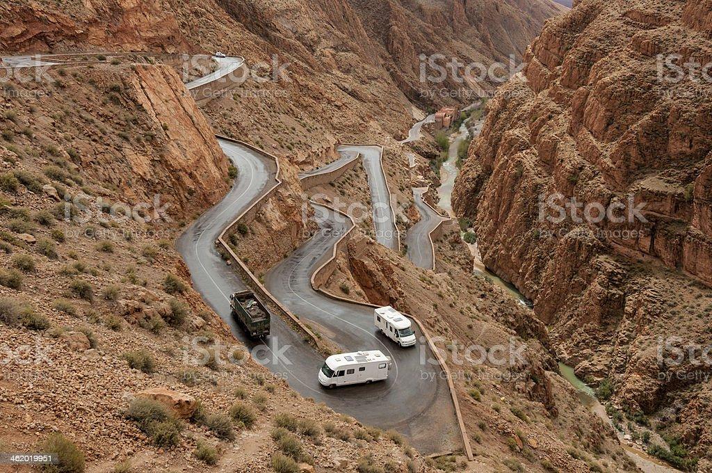 Photo showing vehicles on Tizi nTichka pass stock photo