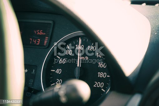 521911567 istock photo Photo speedometer in the car on the dashboard 1134430331
