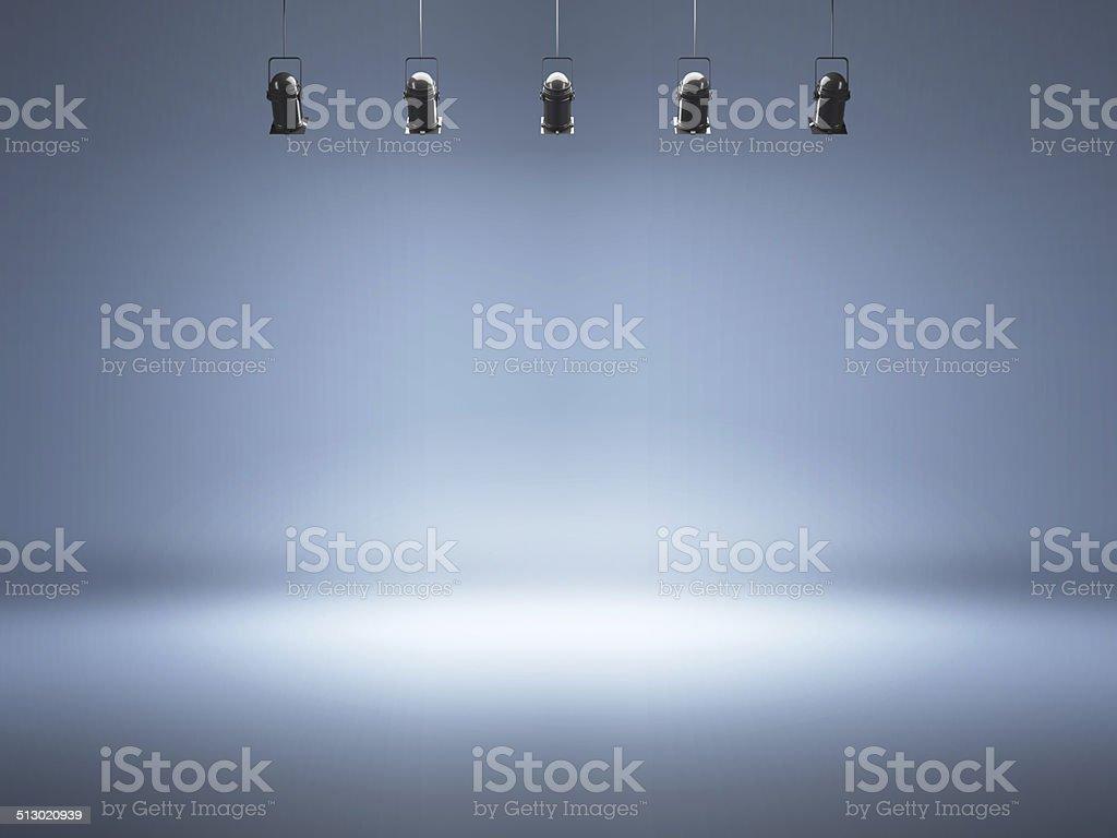 Photo studio background with lamps stock photo
