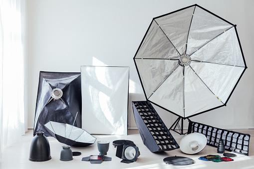 istock Photo studio equipment flash accessories professional photographer 1218973957